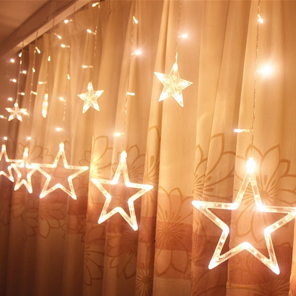 Taikang Tech 2X1M 12 Stars 138 LEDS Window Curtain Icicle Lights String Fairy Xmas Light for Christmas Wedding Party Home Garden Decorations