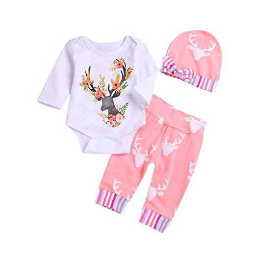 5fd60fb2b Unisex Baby Christmas Floral Deer Print Three Piece Baby Clothes Set Romper  (0-3Months