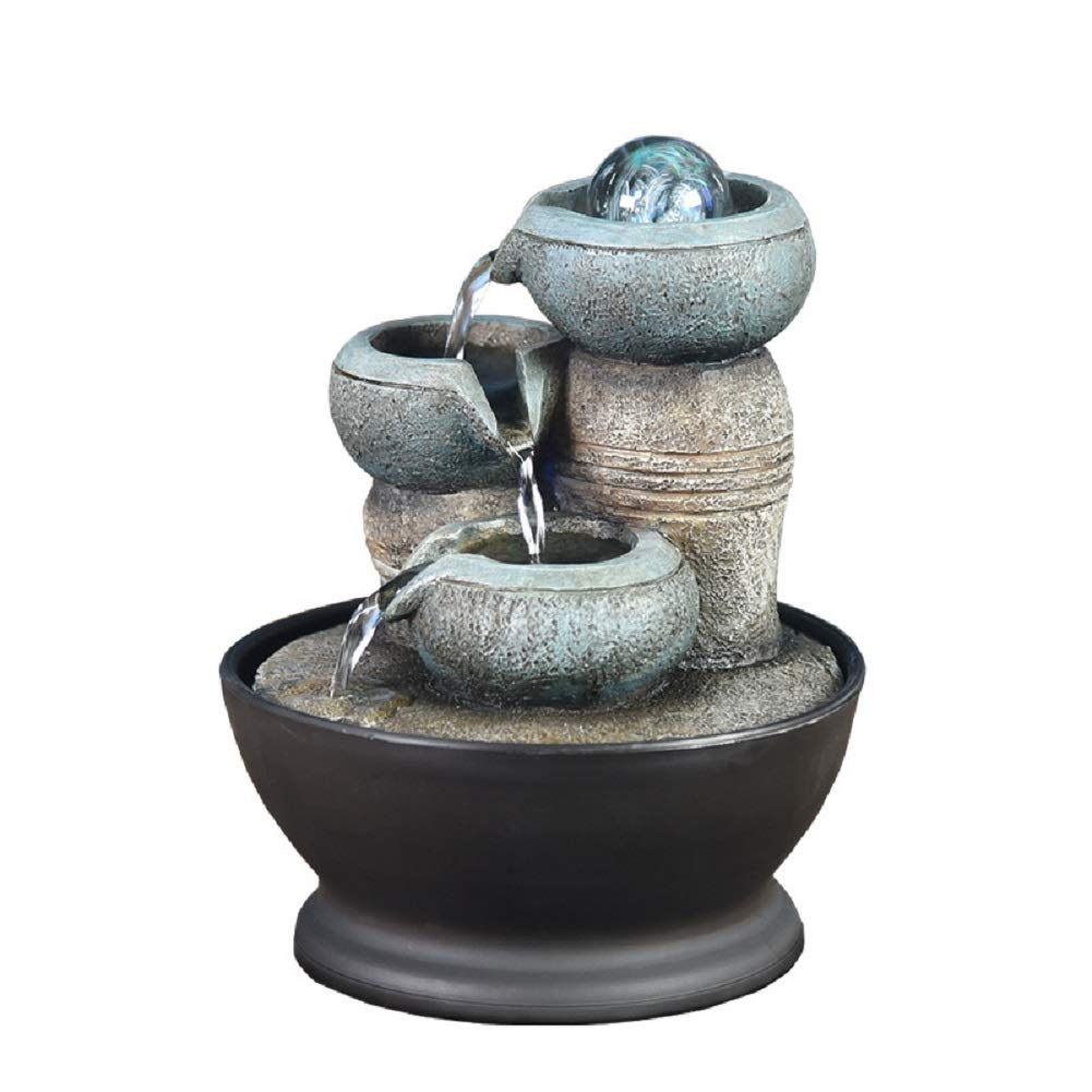 Funnuf Desktop Electric Water Fountain Decor w/LED - Indoor Outdoor Portable Tabletop Decorative Zen Meditation Waterfall Kit, 3 Tier Tower Fountain
