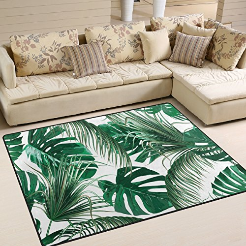 (ALAZA Tropical Palm Tree Leaves Jungle Leaf Green Area Rug Rugs for Living Room Bedroom 7' x 5')
