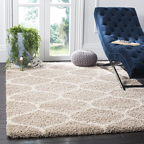 (Safavieh Hudson Shag Collection SGH280S Beige and Ivory Moroccan Ogee Plush Area Rug (4' x 6'))