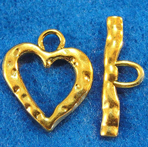 Large Heart Toggle (10Sets Tibetan Antique Gold Large Heart Toggle Clasps Connectors Findings Charms DIY Crafting by WCS)
