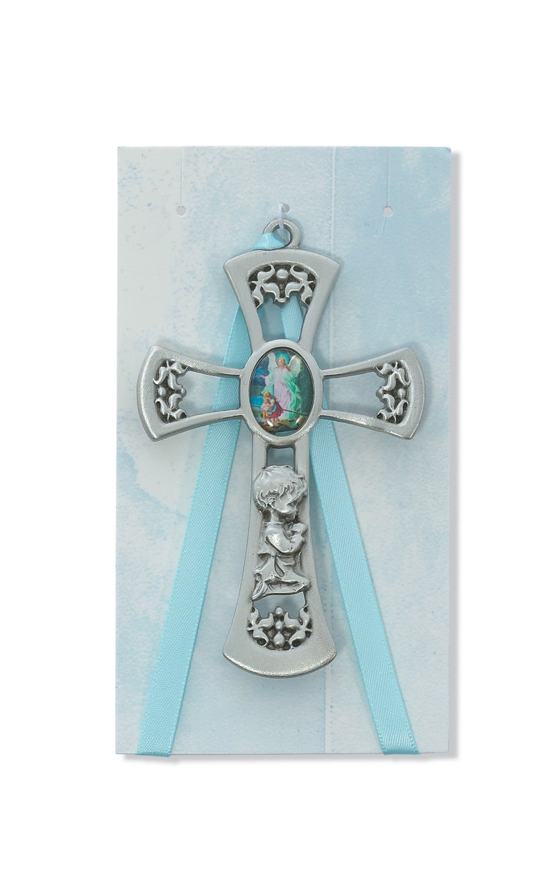 "3 1/2"" Boys Baby Blue Cross Crib Medal, Guardian"