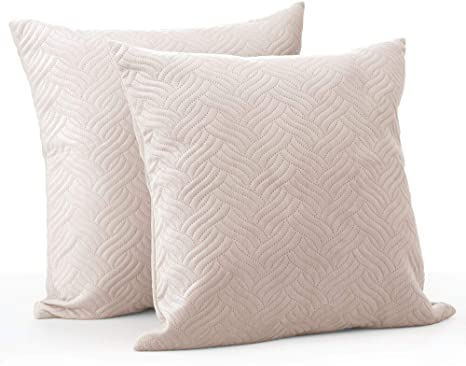 Amazon Com Mdesign Solid Color Decorative Quilted Velvet Throw Pillow Cover Protects Pillows Use On Beds Sofas Couches 20 X 20 Inches No Pillow Insert 2 Pack Cream Beige Home Kitchen