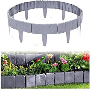 yunshuoa Garden Fence Edging DIY Decorative Flower Grass Bed Border Cobbled Stone Effect Plastic Garden Edging Hammer-in Lawn Lawn Palisade Fencing(Gray,10PCS)