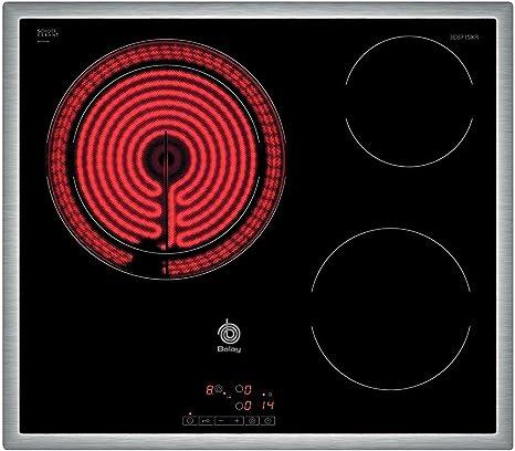 3 zonas de cocci/ón Placa de cocina vitrocer/ámica de 60 cm de ancho color negro Balay 3EB715XR marco de acero inoxidable control t/áctil