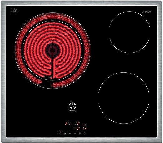 Opinión sobre Balay 3EB715XR - Placa de cocina vitrocerámica de 60 cm de ancho, marco de acero inoxidable, 3 zonas de cocción, control táctil, color negro