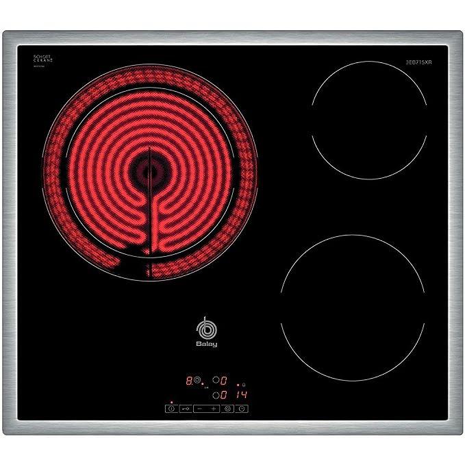 Balay 3EB715XR - Placa de cocina vitrocerámica de 60 cm de ancho, marco de acero inoxidable, 3 zonas de cocción, control táctil, color negro