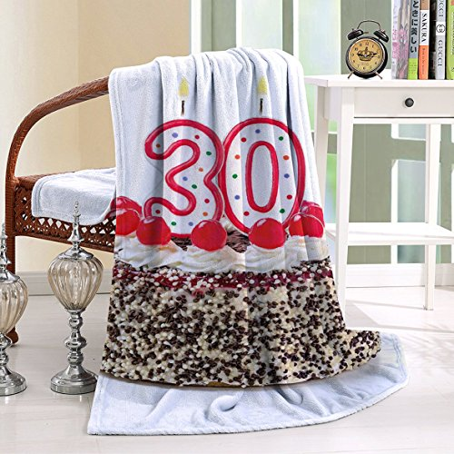 Paddington Bear Numbers (HAIXIA Blanket 30th Birthday Birthday Cake Cherries on Top and Burning Candles Number 30)
