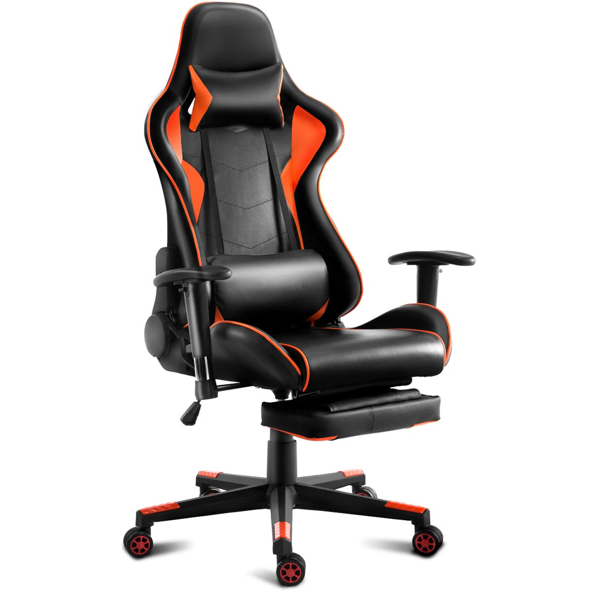Giantex Gaming Chair Racing Style High Back Ergonomic Office Chair Executive Swivel Computer Chair with Lumbar Support, Headrest and Footrest Orange