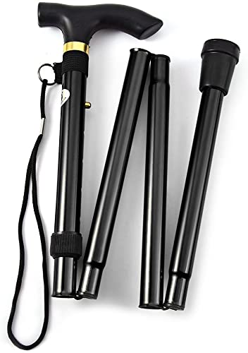 YUGENG Aluminum Metal Folding Walking Stick with Adjustable Height and Non-slip Rubber Base