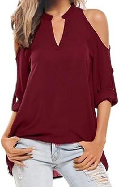 Camiseta De Mujer Blusa Sin Hombros con Cuello En V Manga Larga Grande Floja Yardas Camisa De Gasa (S, Vino Rojo): Amazon.es: Ropa y accesorios