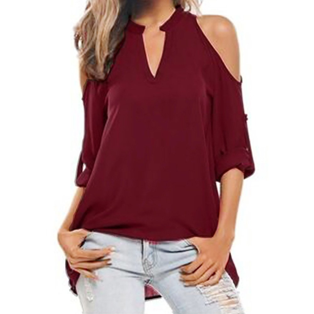 Women's Blouse,❤️❤️ ZTY66 Ladies Roll up Sleeve V-Neck Loose Casual Blouse Shirt (L, Wine Red)