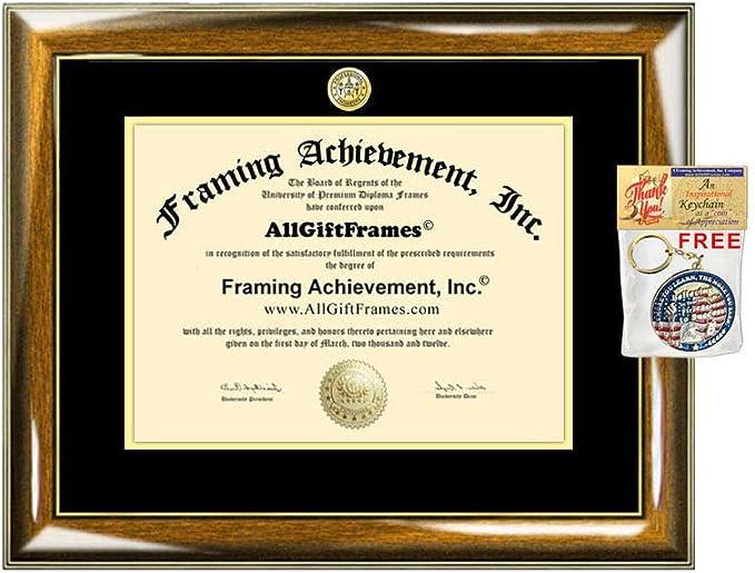 AllGiftFrames UMass Diploma Frame University of Massachusetts Amherst School Campus Photo Double Custom Degree Framing Document Graduation Gift Bachelor Master MBA Doctorate PHD Certificate