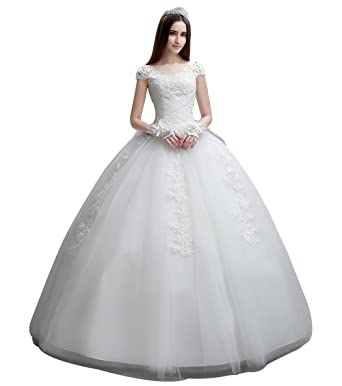 e9db3978f8d Bride Wedding Dress - White Off The Shoulder Ball Gown Wedding Dress for  Bride (S