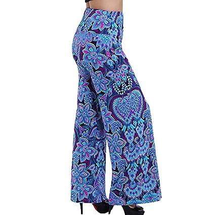 5c83e874e02d Bellelove Dames Pantalons Longs Femmes Pantalon Rayé Pantalon Large Imprimé  Elastique Dos De La Ceinture Danse