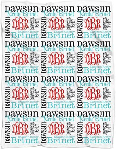 (Personalized Baby Name Blanket Monogrammed Baby Shower Gift (Vine Monogram - Nautical 50