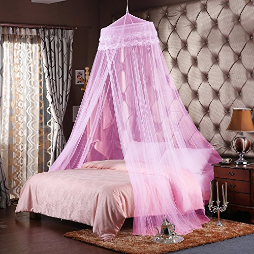 Canopy Double Bed - Round Hoop Double Lace Princess Mosquito Net Bed Canopy Fit Crib Twin Full Queen Pink