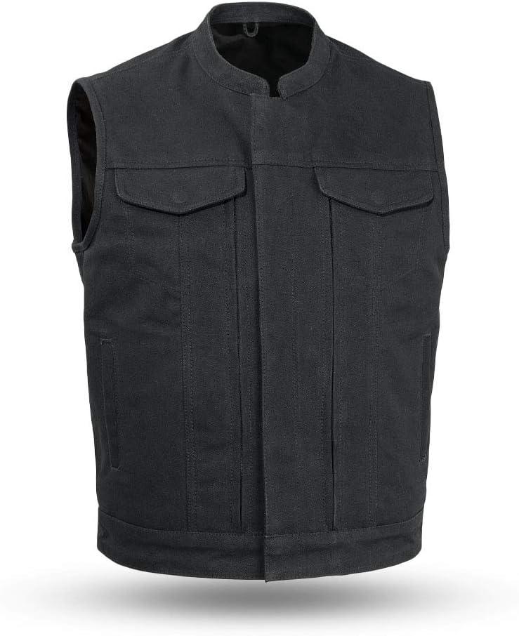 New Men/'s Biker Vest 20 oz Heavy Hitter Raw Canvas Motorcycle Vest by Firstmfg