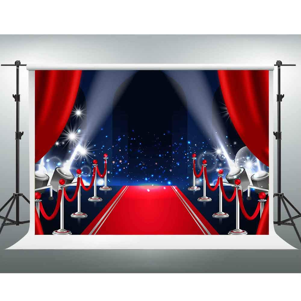 GESEN Red Carpet Backdrop 10x7ft Festive Red Curtain Shining Spotlight for Parties Photo Booth Props LSGE678