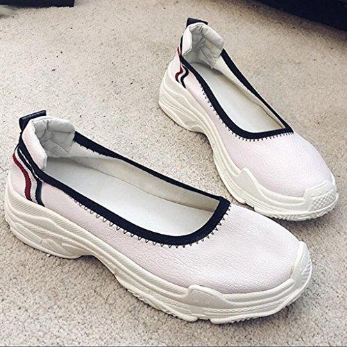 in casual Comode Bianca scarpe Donna Scarpe esterno GAOLIXIA Sandali PU estivi Mocassini Pompe da piatti Primavera Estate EOn7aqP7