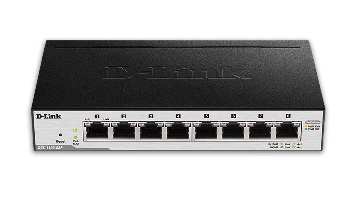 D-Link 8-Port EasySmart Gigabit Ethernet PoE Switch (DGS-1100-08P) by D-Link