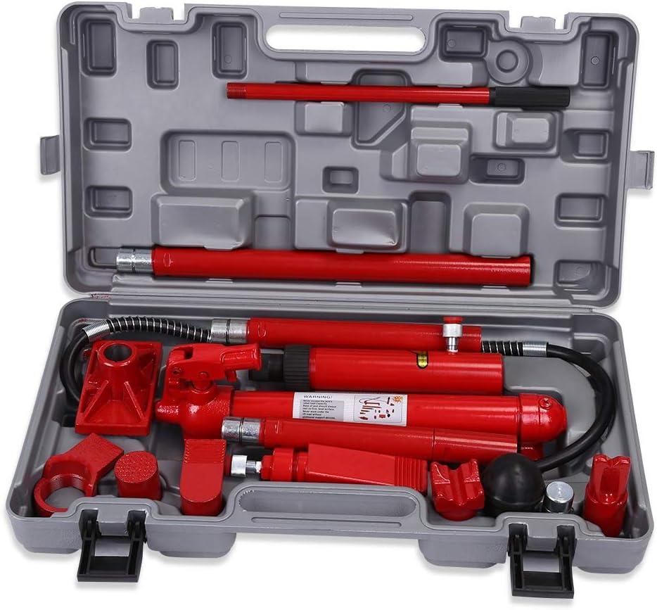 Gato Hidraulico Profesional Kit de 10 toneladas Gato Hydraulic Kit de Herramientas de Reparación del Bastidor Cuerpo Cuerpo Body Dent, Altura de Elevación 35.8-40.5cm
