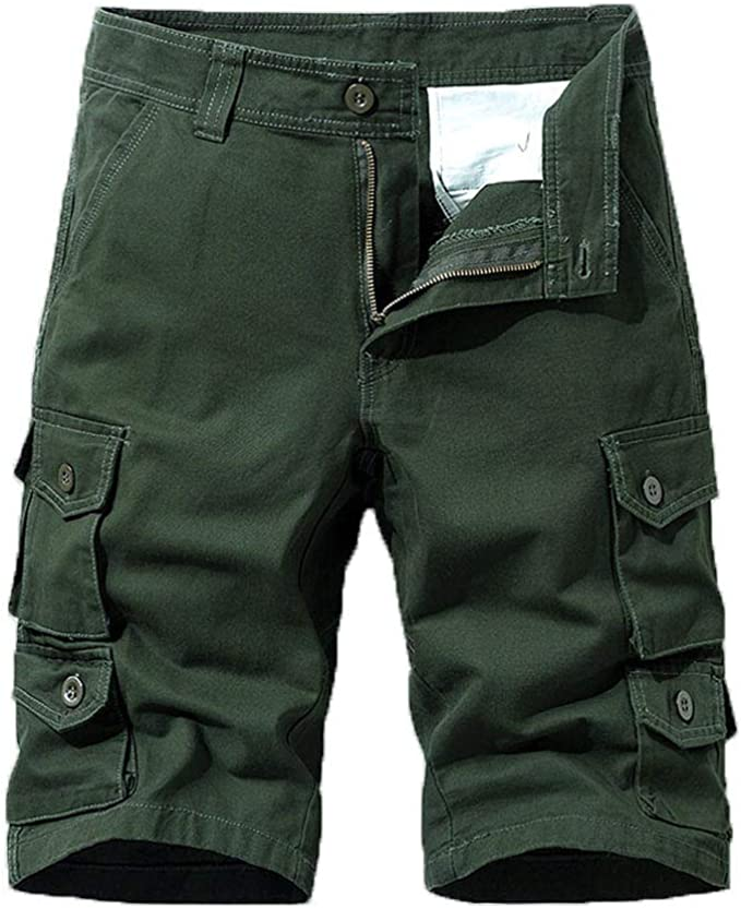 Mens Button Renlinwell Cotton Multi-Pocket Overalls Fashion Pant