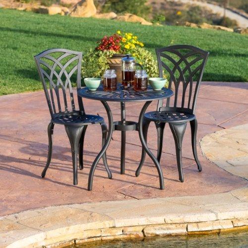 Great Deal Furniture 239082 Franzburg 3pcs Outdoor Cast Aluminum Bistro Set, Black