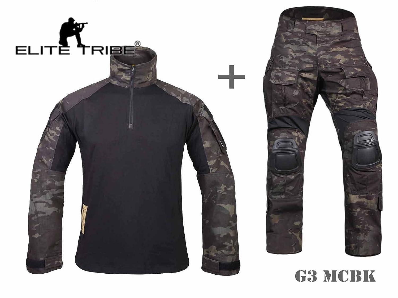 hombres airsoft paintball uniforme militar de caza uniforme de combate táctico gen3 rodillera Multicam Negro Military Outdoor