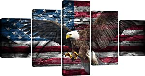 "VIIVEI Vintage Bald Eagle USA US American Flag Canvas Wall Art Retro Eagle Prints Home Decor Thin Red Line Pictures for Living Room 5 Panel Large Poster Painting Framed Ready to Hang(60"" Wx32 H, 25)"