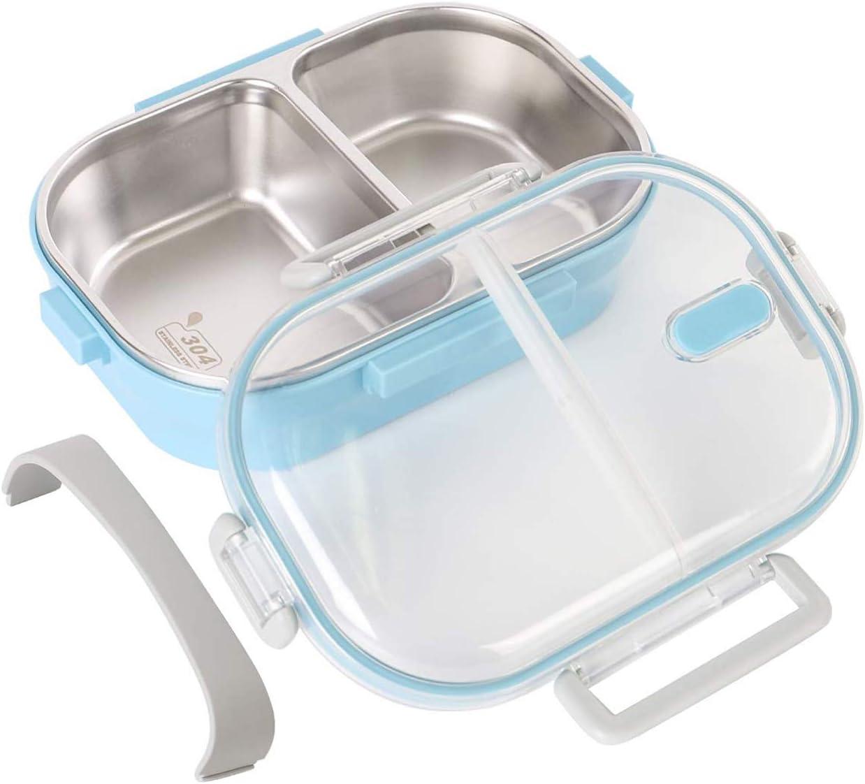 O-Kinee Fambrera Infantil, Lunch Box, 650ml Fambrera Acero Inoxidable con 2 Compartimentos Sellados, Contenedor para Niños o Adultos (Azul)