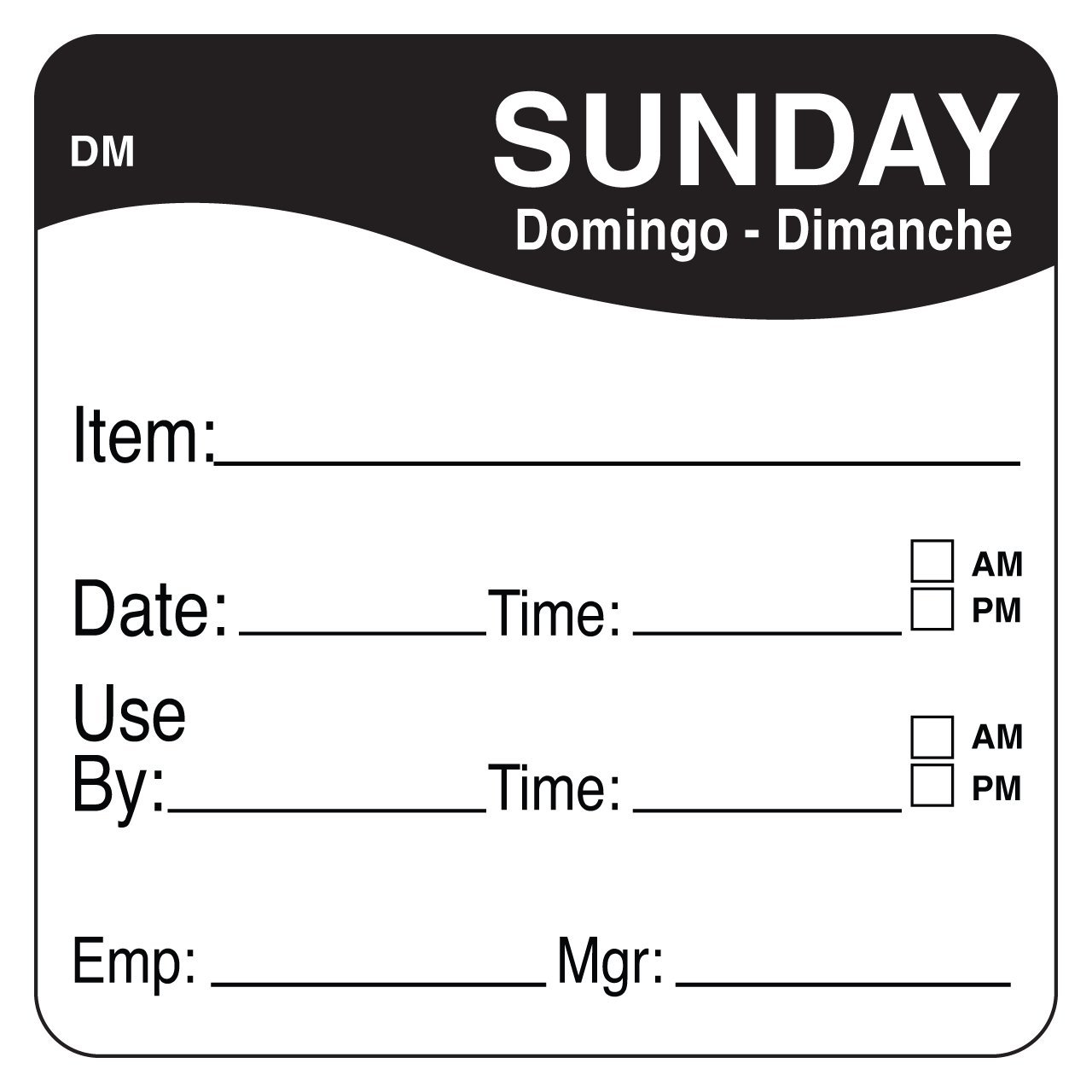 DayMark Safety Systems IT1100537 DayMark DissolveMark Day of the Week Trilingual Dissolvable Label, Item/Date/Use By, 2'' x 2'', Black (Pack of 250)