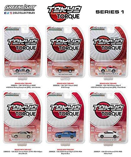 NEW 1:64 GREENLIGHT TOKYO TORQUE COLLECTION - TOKYO TORQUE SERIES 1 ASSORTMENT SET OF 6pcs Diecast Model Car By Greenlight (Series 1 Collection)