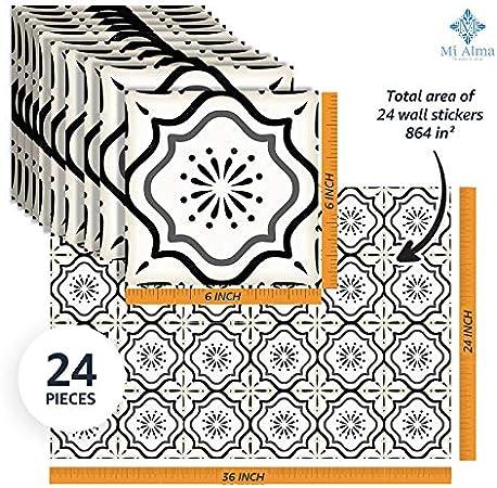 "20 40 50, 6/"" Plain black and white Tile transfer //stickers packs 10 30"