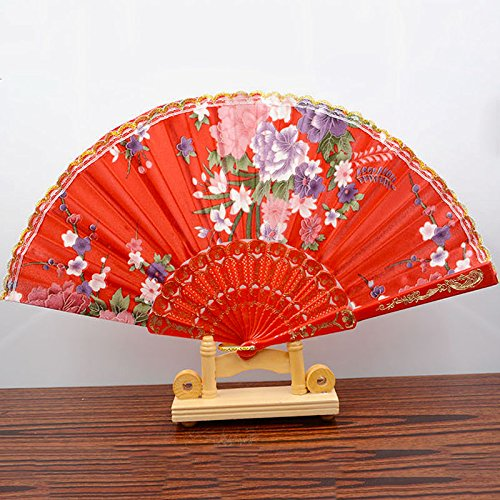Red Spanish Style Dance Wedding Party Lace Silk Folding Hand Held Flower Fan
