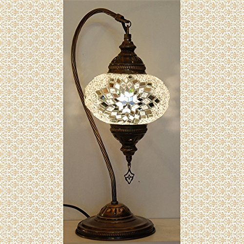Mosaic Swanneck Swan Table Desk Lampshade, Handmade Authentic Tiffany Lighting Moroccan Lamp Glass Stunning Bedside Night Lights Brass&Glass Ottoman Turkish Style (Lamp Tiffany Large Pendant)