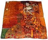 100% Charmeuse Silk Gustav Klimt Grand Lady Portrait Adele Bloch-Bauer Square Scarf