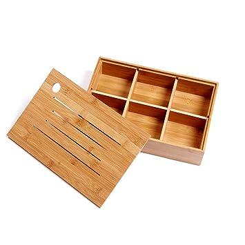 Lujo sharer Snack caja de madera para frutos secos dulces y plato de frutos secos caja 6 parte con tapa (nutbox): Amazon.es: Hogar