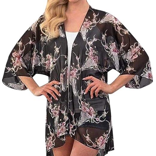 5176688621 Womens Bohemia Chiffon Cardigan,Suma-ma Summer Lightweight Flower Printing  Sunscreen Cover up Casual