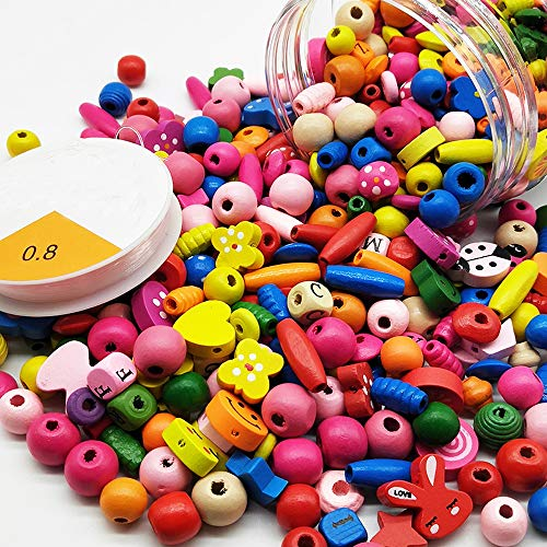 Assorted Color Wood Beads Cartoon Wooden Spacer Beads for DIY Jewelry Making Handmade Craft Children's Gift, a Can of 400 ()