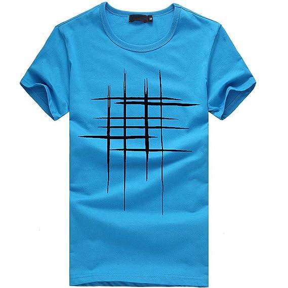 Lenfesh Blusa Casual Algodón Camiseta de Manga Corta para Hombres Camisetas para Hombres chulas Verano Primavera
