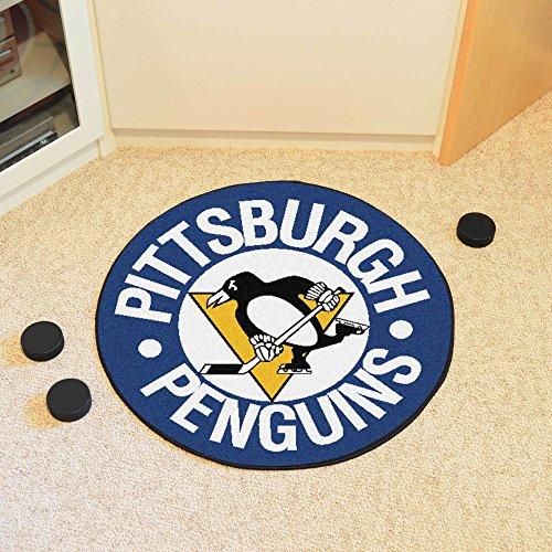 Fan Mats NHL Pittsburgh Penguins Puck Mats BLUE/BLACK/GOLD/WHITE 27 DIAMETER (Penguins Mat Puck Pittsburgh)