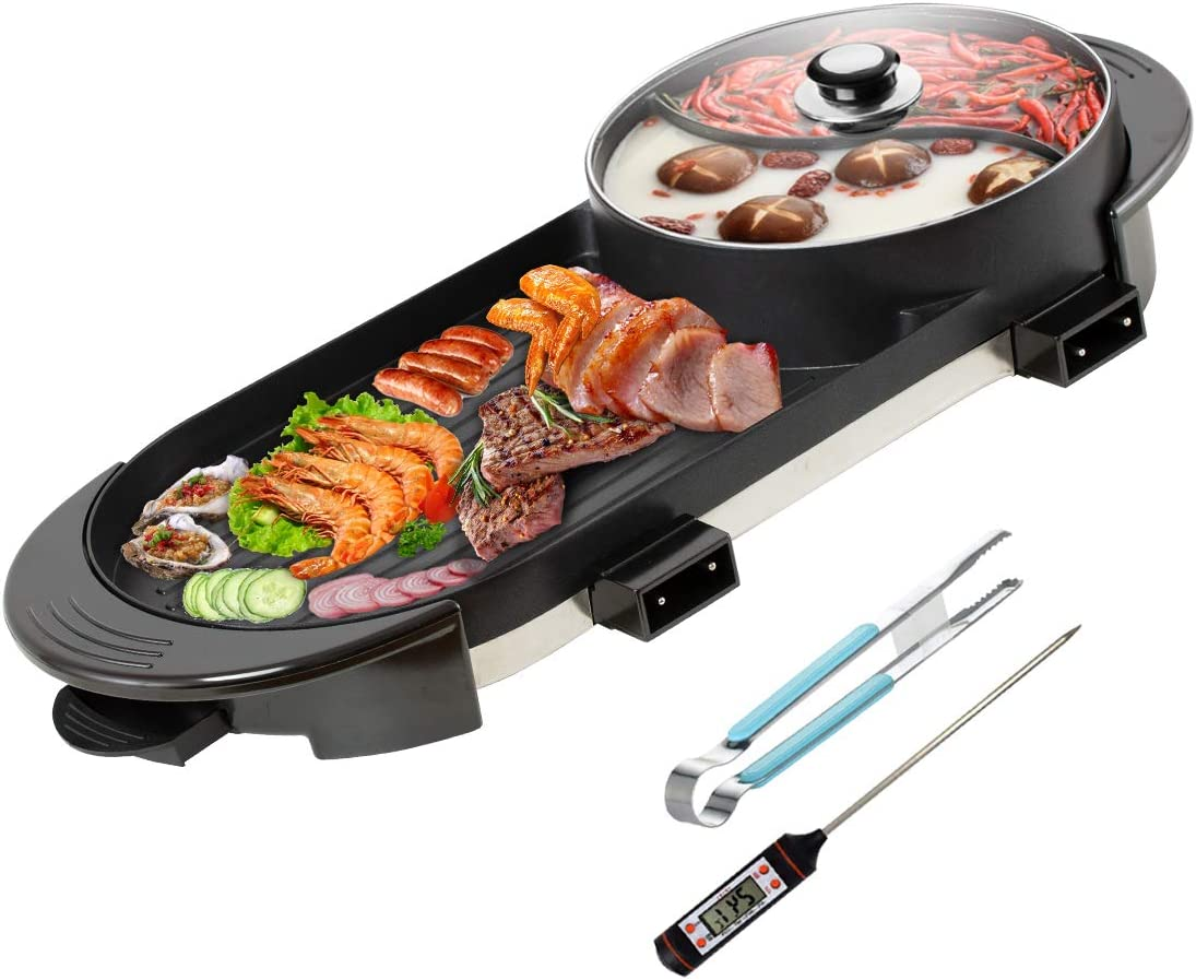 CLORIS 2 in 1 Electric Barbecue Pan Grill and Hot Pot with BBQ Thermometer Set 28in, Indoor Ourdoor Barbecue Large Capacity Non-Stick Pan with 5 Temperature adjustments