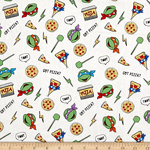 Springs Creative Products Nickelodeon Teenage Mutant Ninja Turtles Retro Got Pizza? White Fabric by The Yard, White