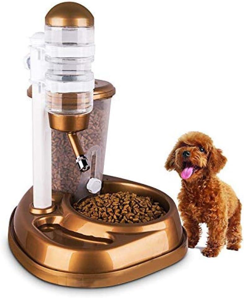 KNFBOK dispensador de Agua Gatos comedero para Mascotas 2 en 1 de Gran Capacidad Tazón para Mascotas automático Soporte para Bebedero Botella Gato Perro Conejo Alimentador Dispensador Oro