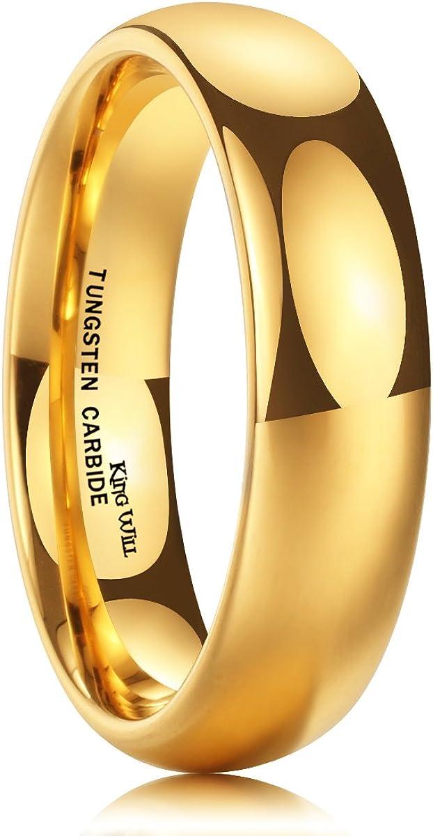 King Will - Anillo de boda de tungsteno bañado en oro de 24 k (6 ...