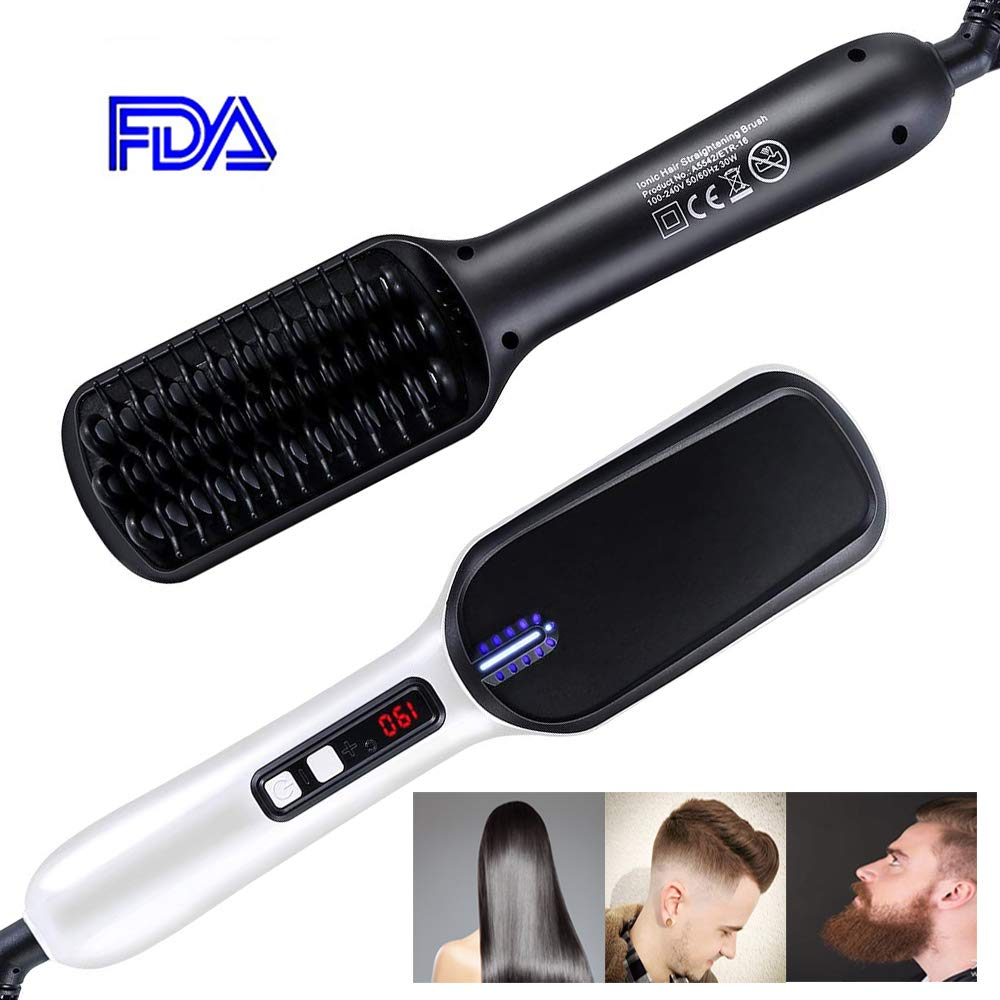 BKhome Beard Straightener Hair Comb - Electrical Heated Ionic Ceramic Hair Straighteners Brush with Faster Heating, Auto Temperature Lock, Anti Scald for Women and Men