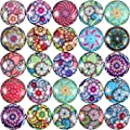 Jovitec 200 Pieces 12 mm Mixed Color Flower Pattern Mosaic Printed Glass Half Round Crafts Glass Mosaic for Jewelry Making