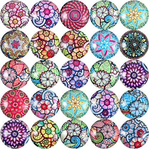 - Jovitec 200 Pieces 12 mm Mixed Color Flower Pattern Mosaic Printed Glass Half Round Crafts Glass Mosaic for Jewelry Making